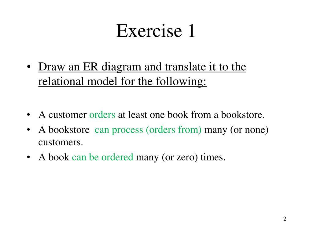 Ppt - Entity - Relationship Modelling Exercisesartem with Er Diagram At Least One