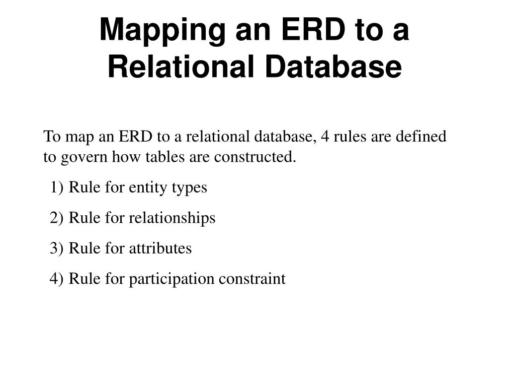 Ppt - Mapping An Erd To A Relational Database Powerpoint throughout Erd Definition