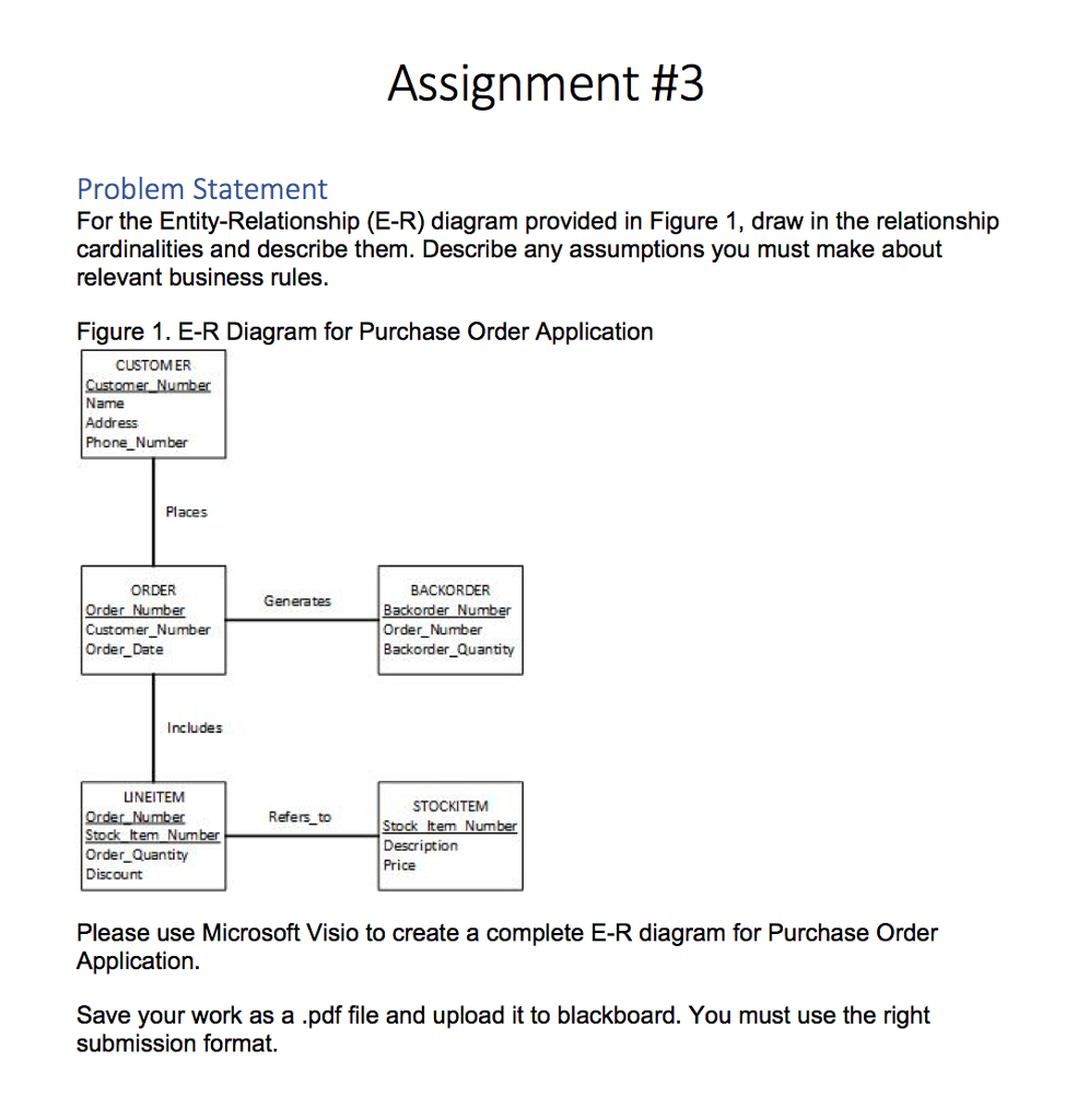 Solved: Assignment #3 Problem Statement For The Entity-Rel with regard to Er Diagram Assumptions