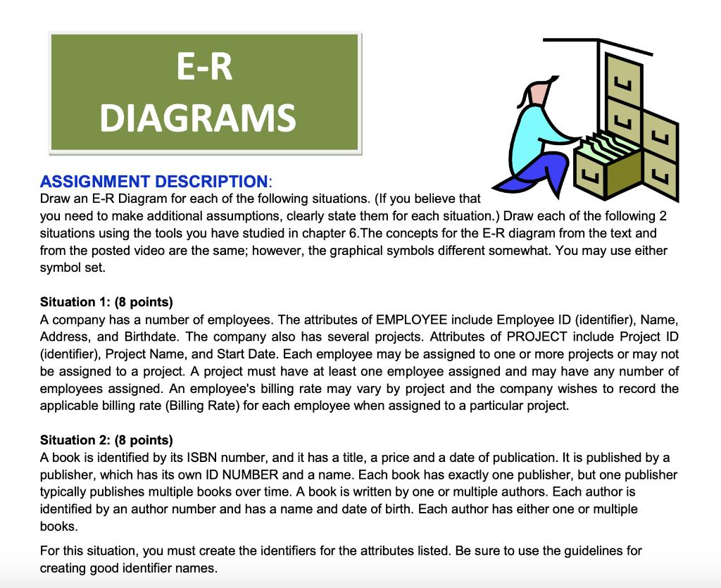 Solved: E-R Diagrams Assignment Description: Draw An E-R D for Er Diagram Either Or