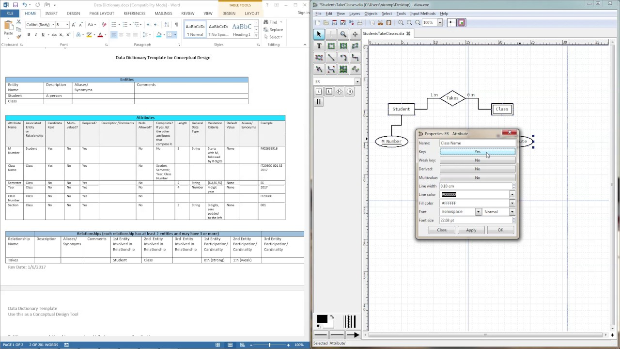 Using Dia To Create A Simple Er Diagram inside How To Make Erd Diagram In Word