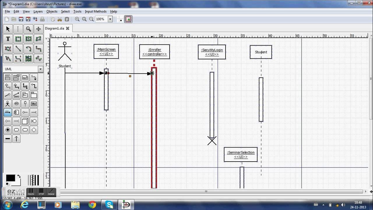 Using Dia To Make Sequence Diagrams with Er Diagram Using Dia