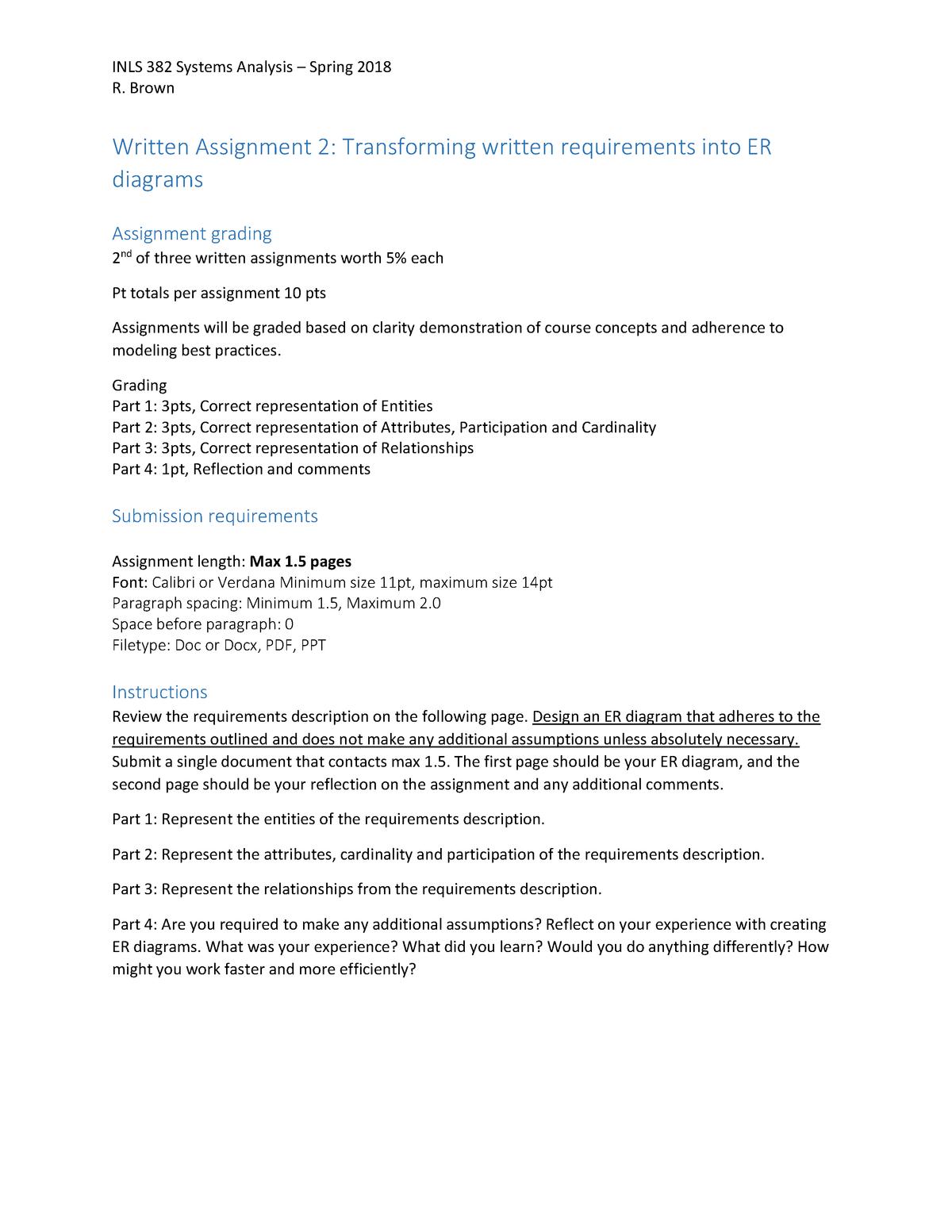 Written Assignment 2 - Regarding Er Diagram Drawing, Boat within Er Diagram Assumptions