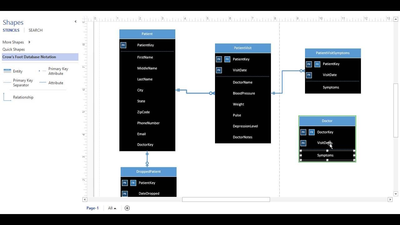 Create An Erd In Ms Visio (Lab 4.1) pertaining to Create Er Diagram Visio 2016