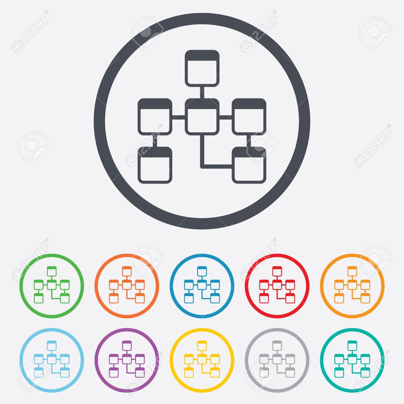 Database Sign Icon. Relational Database Schema Symbol. Round Circle Buttons  With Frame. Vector throughout Database Schema Symbols