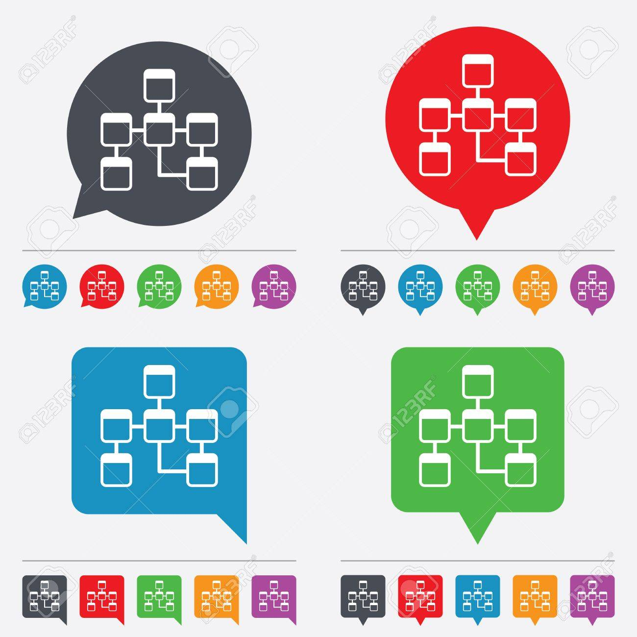 Database Sign Icon. Relational Database Schema Symbol. Speech Bubbles  Information Icons. 24 Colored Buttons. Vector intended for Database Schema Symbols