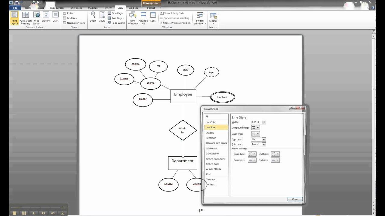 Er Diagram In Ms Word Part 7 - Illustrating Participation throughout Er Diagram Youtube