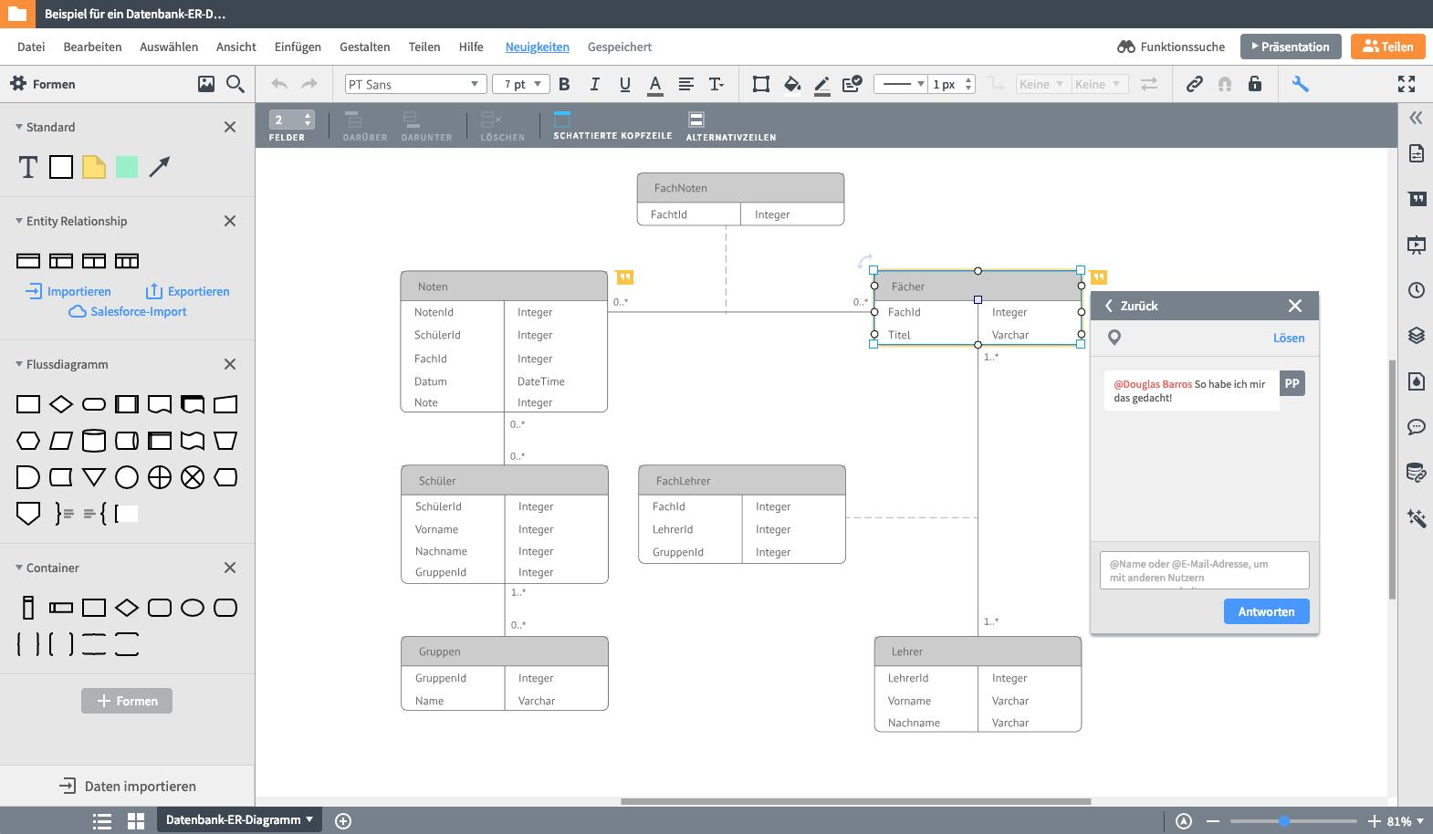 Er-Modell Tool | Lucidchart in Er Diagram Zeichnen